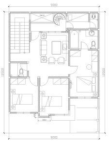 Denah lantai 2 rumah villa nusa indah