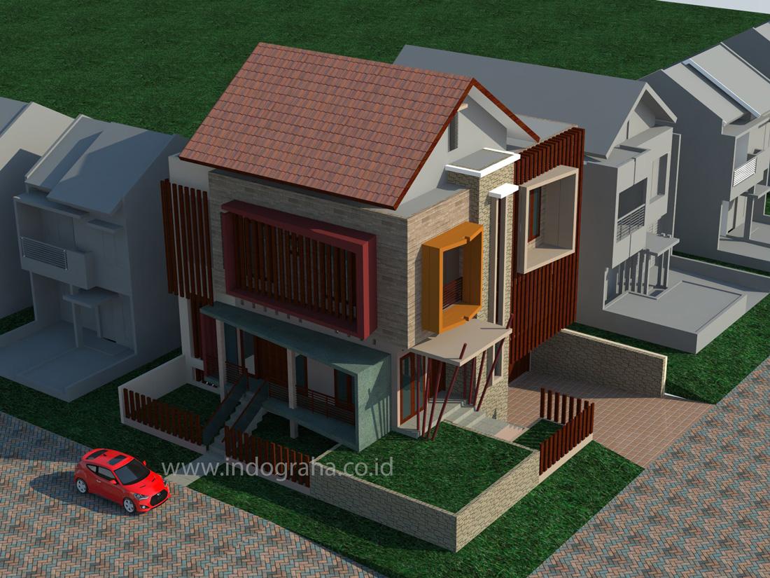 Model rumah minialis kavling sudut di puri bintaro