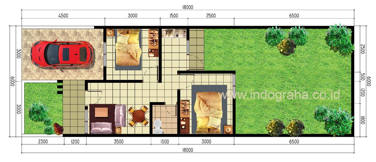 Denah Rumah minimalis tipe 42 di cipayung depok