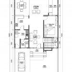 Denah lantai 1 rumah tingkat di puri bintaro