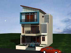 Desain Gambar Rumah Minimalis modern 3 lantai di Ciputat Tangsel