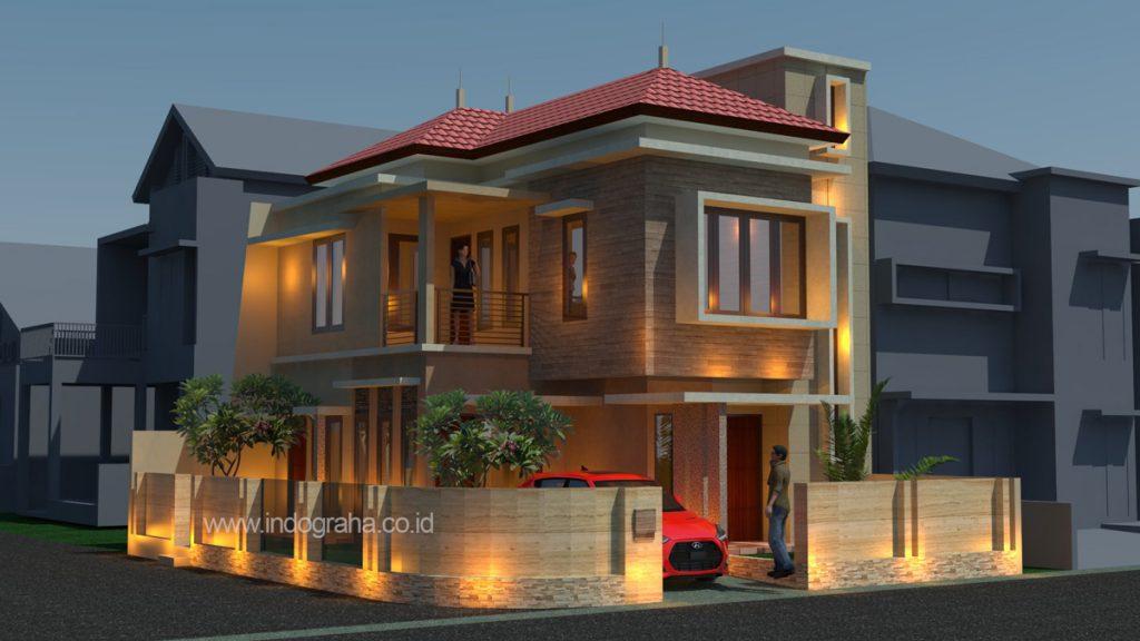 Desain rumah tinggal minimalis kavling sudut di tebet
