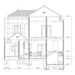 Potongan 1 desain rumah tingkat minimalis modern di citragran cibubur