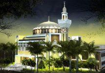 Tampak depan desain masjid minimalis di citragran cibubur
