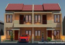 Tampak depan rumah kopel model rumah minimalis terbaru di sawangan kota depok