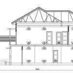 Tampak potongan 1 desain rumah minimalis di cilodong depok
