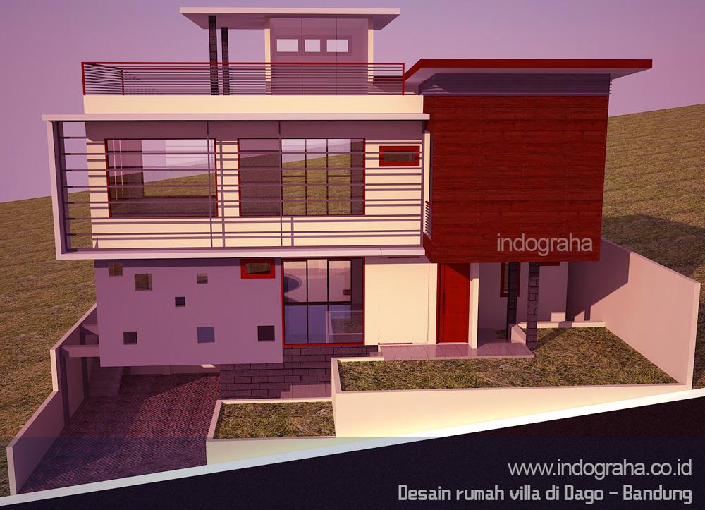 Desain gambar arsitektur rumah minimalis 2 lantai di atas bukit dago bandung utara