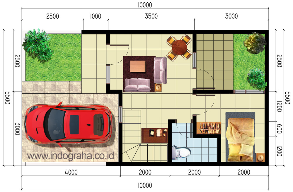 Denah Lantai 1 perumahan aracelli residence 3, kranggan, kota bekasi