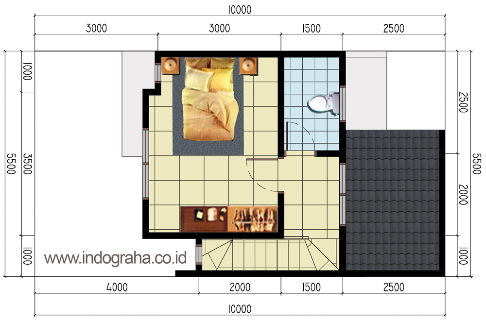 Desain lantai 2 perumahan minimalis aracelli residence 3, bekasi