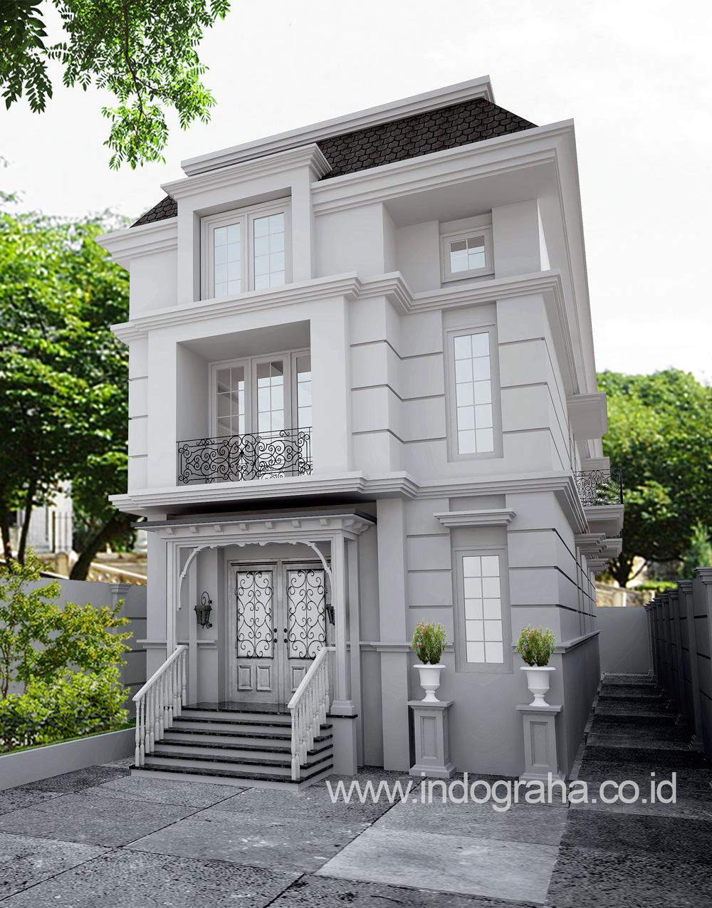 Gambar arsitektur kantor tingkat 3 model klasik di lebak bulus jakarta