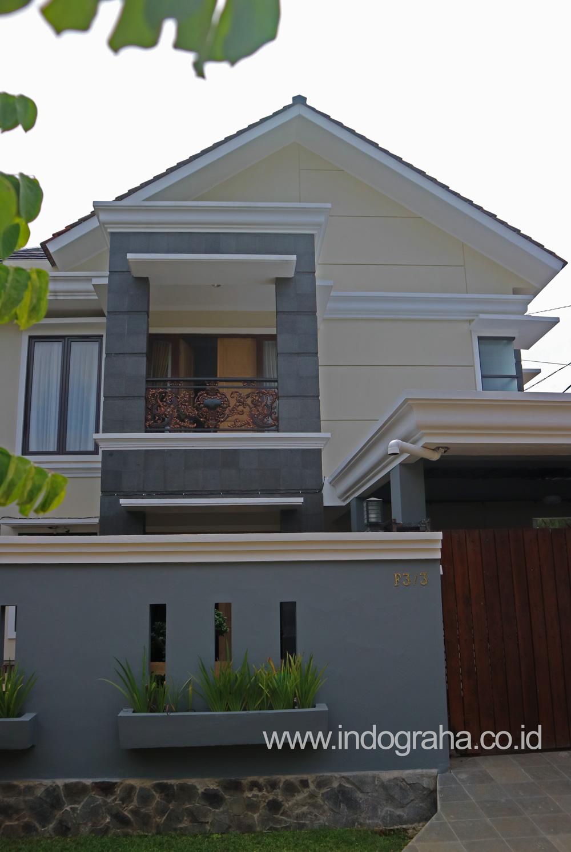 Tampak depan renovasi rumah minimalis di perumahan depok maharaja