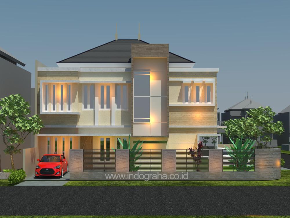 Desain rumah minimalis kavling sudut di perumahan citragran cibubur