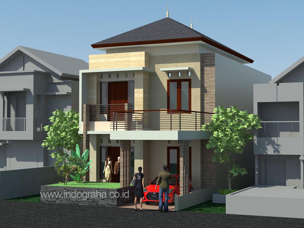 Desain rumah minimalis modern tingkat 2 di perumahan pesona khayangan depok