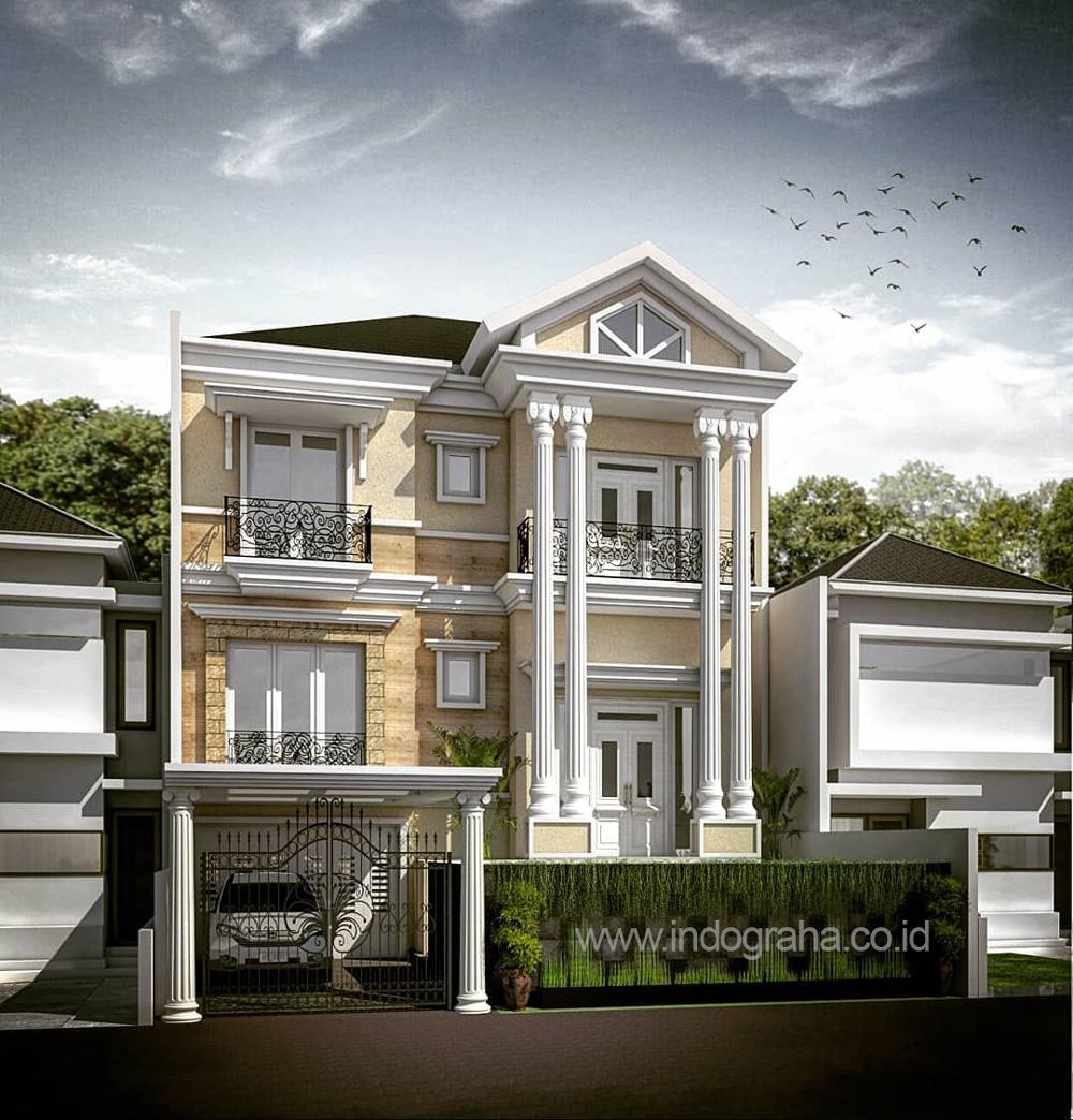 Desain rumah model klasik 2.5 lantai di perumahan araya kota malang
