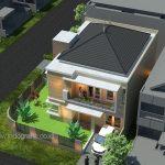Desain rumah urban di kavling pojok pada perumahan citragran cibubur