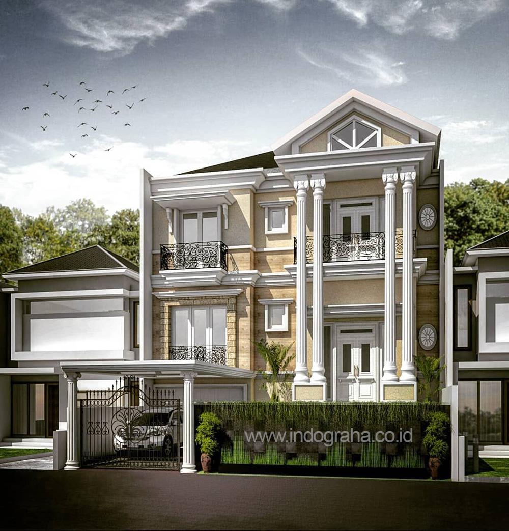 Gambar arsitek rumah klasik split level di perumahan araya kota malang