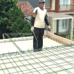 Pemasangan besi untuk balok beton rumah minimalis tingkat 2 di cikeas cibubur