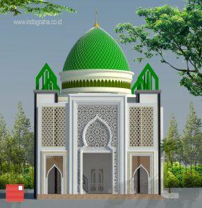 Arsitektur masjid minimalis dengan luas 330 m2 dindig grc nuansa islami