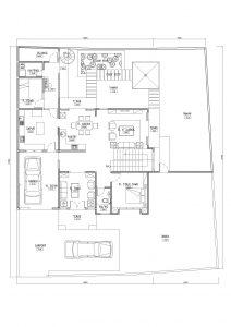 Denah lantai 1 rumah dengan 4 kamar di jagakarsa