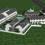 Desain pengembangan sekolah minimalis SMK 2 Lantai di kendal