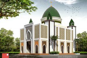 Gambar masjid minimalis modern dengan kubah grc dan dinding roster ornamen mediterania