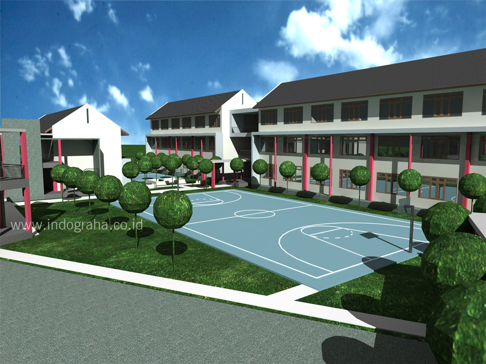 Siteplan area lapangan basket pengembangan SMK minimalis di kendal