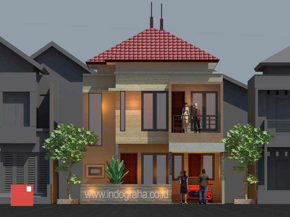 Tampak depan desain arsitek rumah minimalis di legenda wisata cibubur